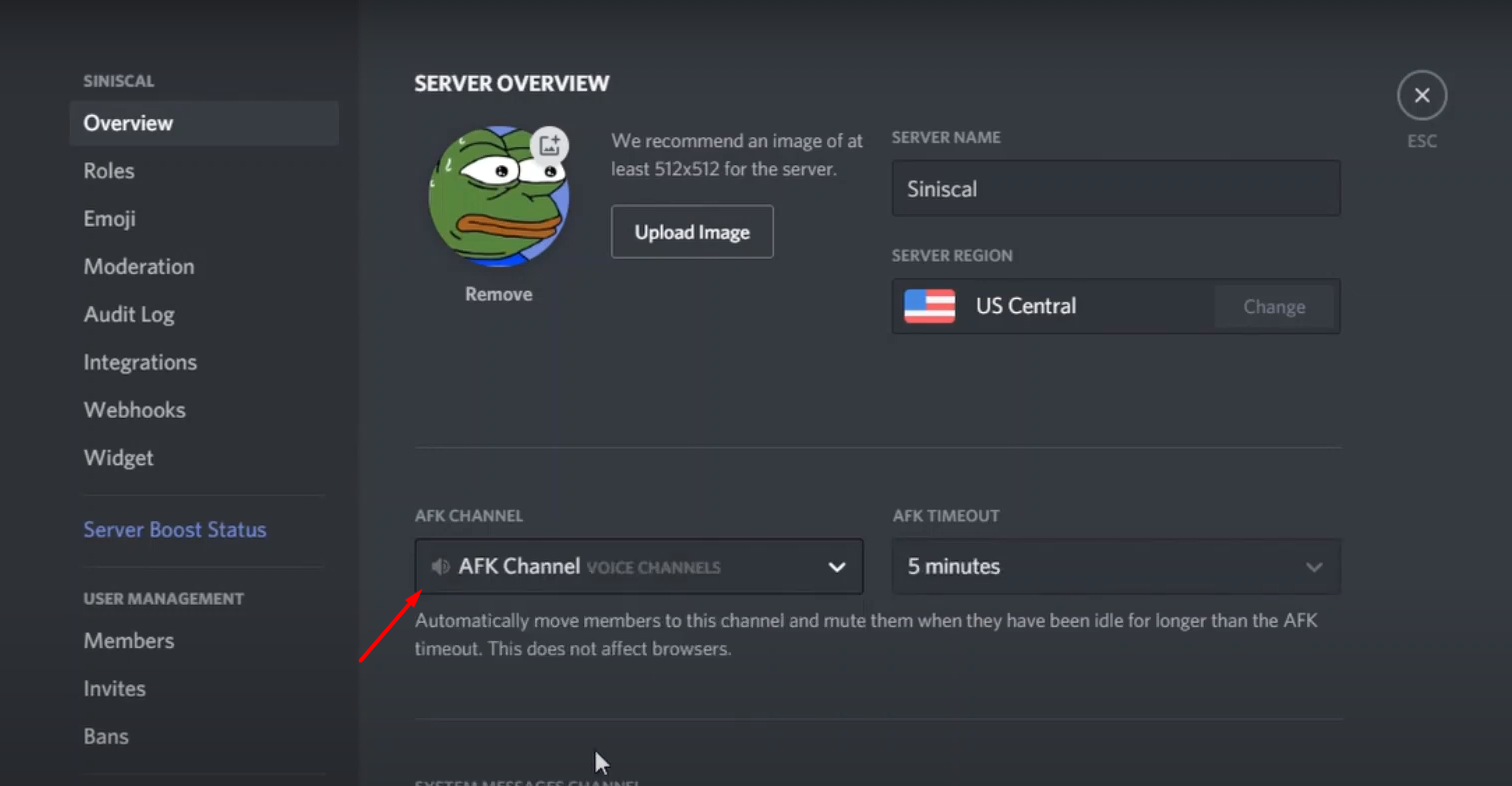 how to make afk channel in discord