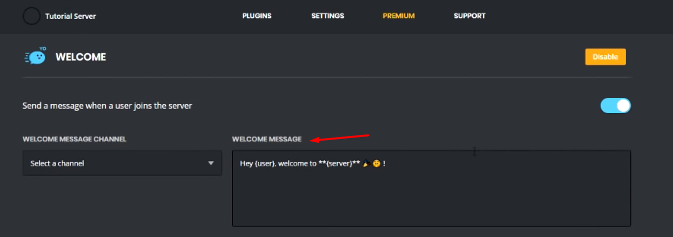 discord how to make a welcome channel