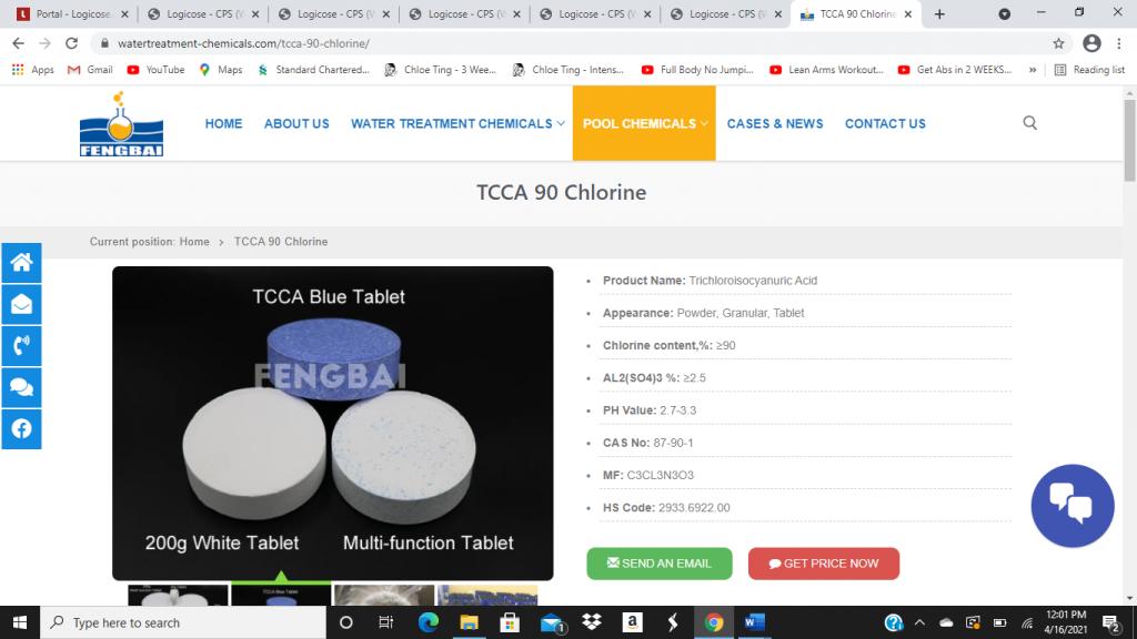 TCCA 90 chlorine for sale